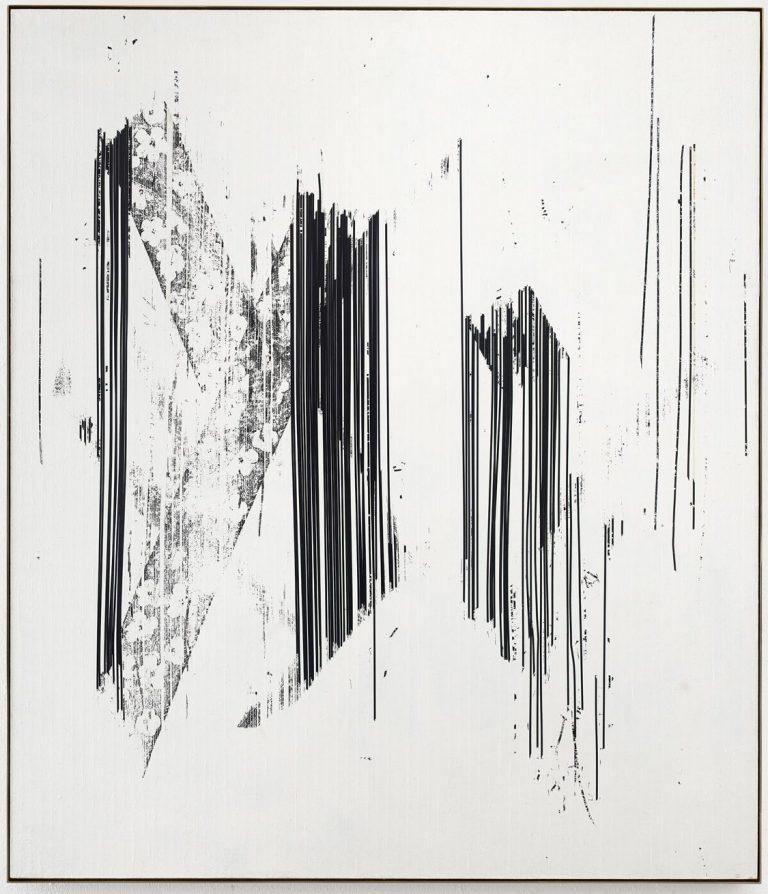 Gregor Hildebrandt, canvas, film tape, VHS, cassette tape, painting