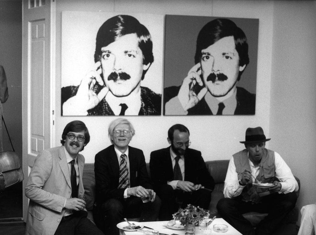 Bernd Klüser, Andy Warhol, Hermann Wünsche & Joseph Beuys in Verena and Bernd Klüser's flat, © Angela Neuke
